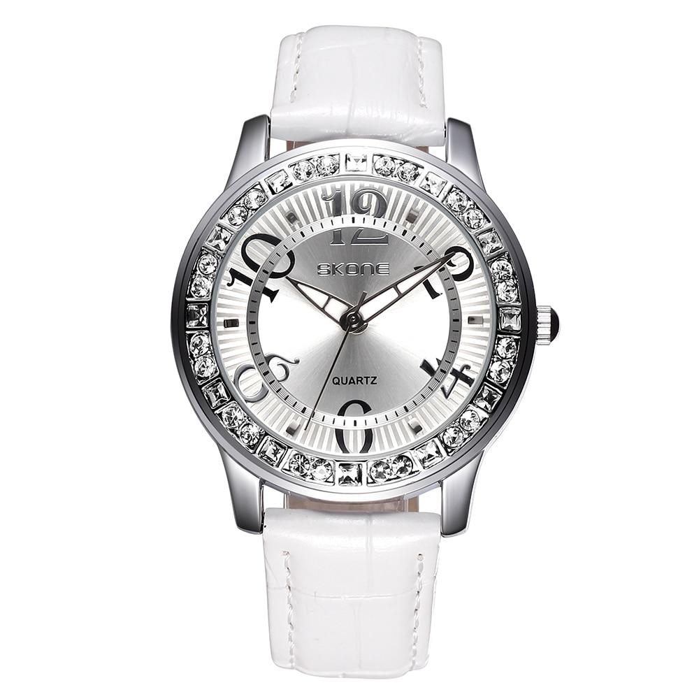 ФОТО SKONE Female Watches Luminous Big Number Rhinestone Silver Dial Womens Fashion Watch Ladies Leather Straps Wristwatch Girls 2016