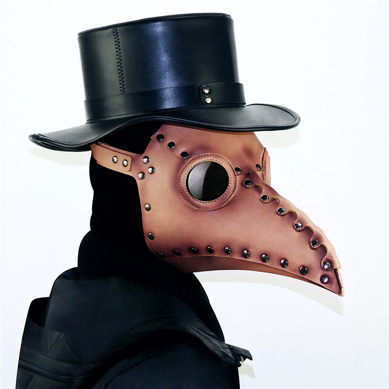New Type The Plague Doctor Bird Mask Brwon Steampunk Mask Gothic PU Leather Mask Halloween Cosplay Accessories Props