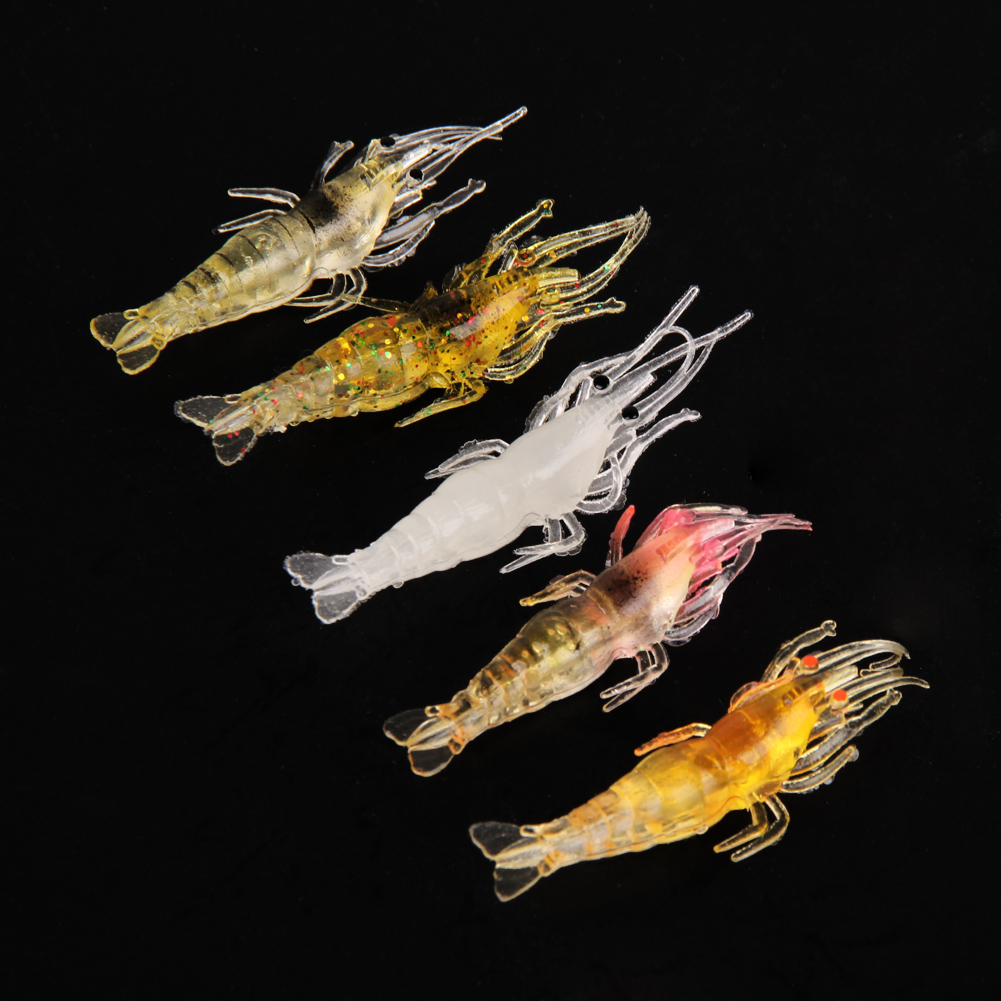 5pcs/set Artificial Shrimp Fish Baits Fishing Lure Lead Jig Head Hook Grub Worm Soft Baits Shads Silicone Vivid fishing tackle 50pcs mix soft lure grub worm capuchin maggots fishing jig head hook bait set