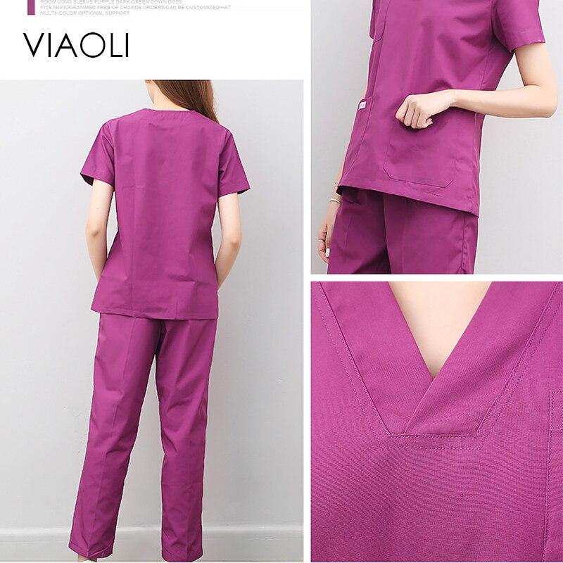 Viaoli women and men Medical Uniforms Nursing Scrubs Clothes Short Sleeve coat Doctor Clothing  Brush hand clothing blue purple