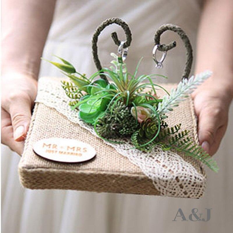 1 pièces lot nom personnalisé fait à la main rustique en bois anneau porteur oreillers anniversaire fiançailles décoration idées de mariage anneau oreiller