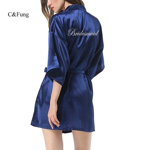 C Fung new sexy bridal robe Women Short Bride kimono Bridesmaid robe for Wedding  Party navy blue purple pink black silver robes 4e1410c61