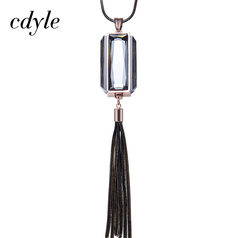 Cdyle Sweater Necklace Women Sweater Chain Trendy Fashion Work Office Pendants Valentines Day Gift Cubic Elegant Crystal Retro