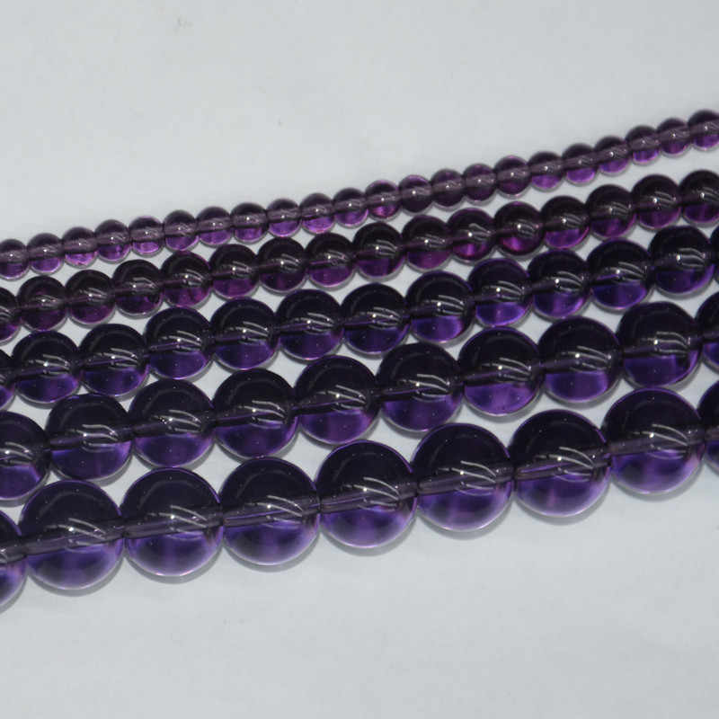 "Natural Stone Smooth Purple Round Transparent Loose Beads 15"" Strand 4 6 8 10 12 14MM Pick Size For Jewelry Making"
