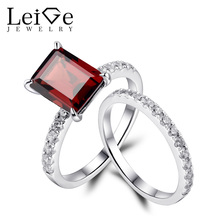 Leige Jewelry Sterling Silver Rings Natural Garnet Engagement Ring Set for Women Anniversary Gift Emerald Cut January Birthstone