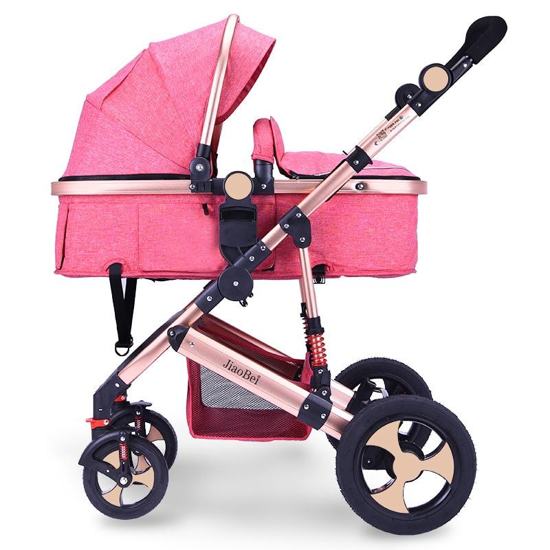 Bi-directional High Landscape Baby Stroller Four Wheels Trolley Folding Shock Absorber Newborn Baby Sleeping Basket Car Seat