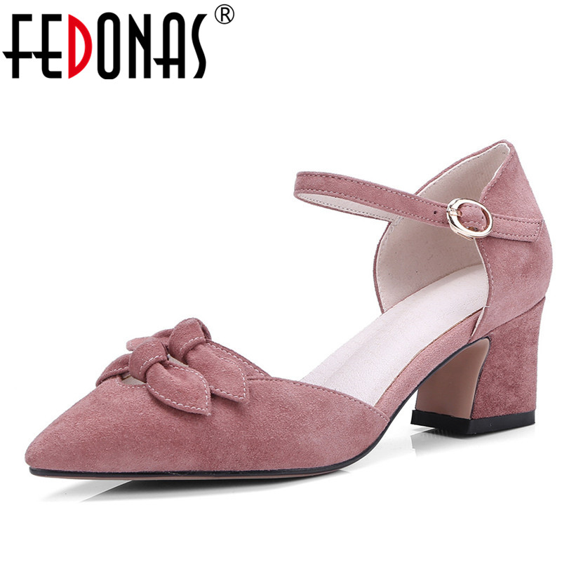 FEDONAS Fashion Ankle Strap Pumps Women Elegant Genuine Leather High Heels Point toe Party Wedding Shoes Woman Bowtie Cute Pumps цена 2017