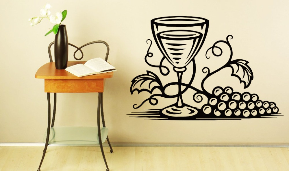 Grapes Pattern Wall Decal Wineglass Vinyl Kitchen Restaurant Windows Wall Stickers Interior Art Mural Modern Home Decor Syy895