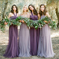 Elegant Tulle Full-length A-line Convertible Bridesmaid Dress Plus Size Bridesmaid Dresses Purple Brides Maid Dresses WED90154
