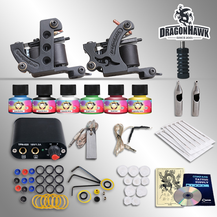 Complete Tattoo Kit 2 Machines Gun 6 Color Inks Power Supply Needles Set 9656 early simple machines set