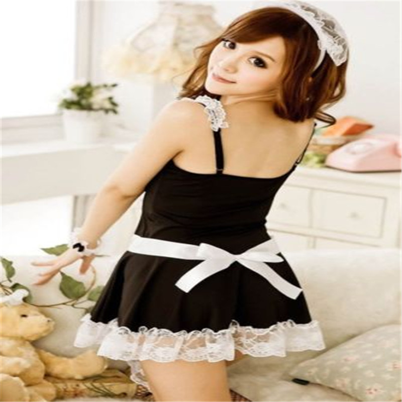 Sexy Lingerie Cosplay French Apron Maid Servant Lolita Sexy Costume Babydoll Dress Uniform Erotic Lingerie Role play Hot 2017 4