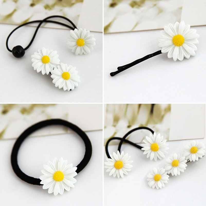Daisy Flower Elastic Hair Ring Rubber Band Ponytail Holder Hair Rope Accessories