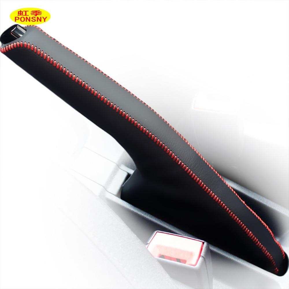 PONSNY Car Handbrake Cover Case For Volkswagen VW BORA POLO SANTANA Auto Genuine Leather Handbrake Grips Cover