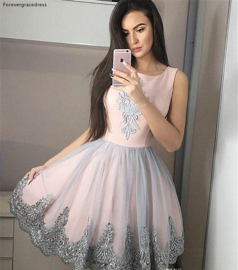 2019 Blush Pink Gray Homecoming Dress A Line Appliques Juniors Sweet 15 Graduation Cocktail Party Gowns Plus Size Custom Made