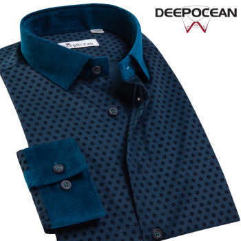 Deepocean Plus Size Men Shirt Cotton Shirt Men Clothes Brand Clothing Smart Casual Business Shirts for Men
