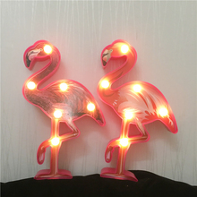 Fashion Painted Flamingo AA Battery Night Light Home Table Lamp 3D Nightlight With Hanging Hole Wall Lamp Function