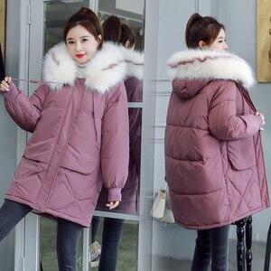 Image 2 - 2020 פרווה סלעית Parka casaco feminino נשי מעיל מעיל בתוספת גודל חורף מעיל נשים מזדמן למטה כותנה ארוך מרופד מעיילי