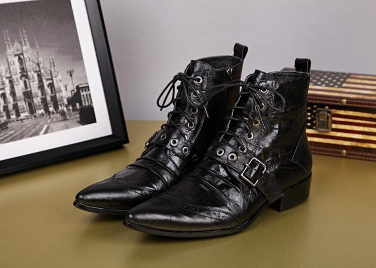 BZBFSKY Black Fashion Men Ankle Boots Pointed Toe Botas Hombre Lace Up Botas Militares Wedding Dress Shoes Mens Cowboy Boots