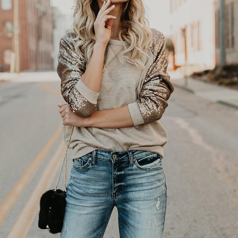 Frauen Sequine T-shirt Frühling 2018 Mode Langarm T-Shirt Beiläufige Lose Weibliche Blusas Patchwork Oansatz Tops WS5134A