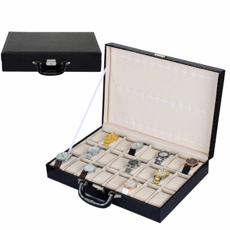 2017 Top 24 fentes montre boîte boîte de rangement boîte d'affichage montre de mode marque montre en cuir noir montre cadeau sac