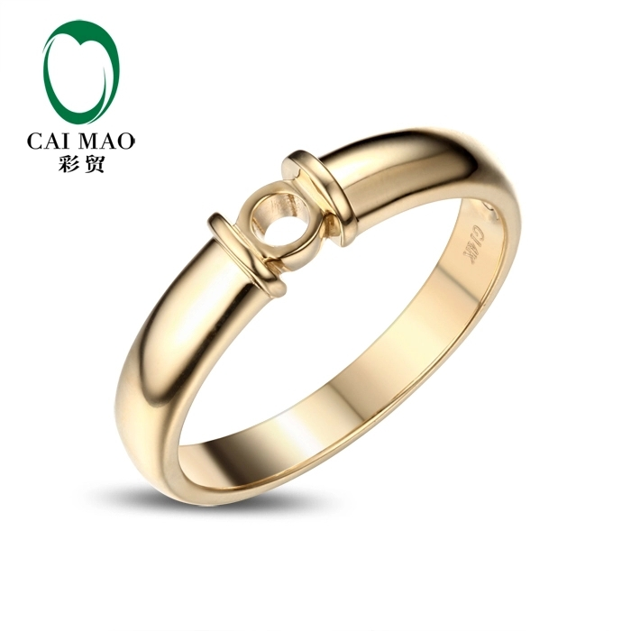 CaiMao Round cut Semi Mount Ring Settings & ct Diamond 14k Yellow Gold Gemstone Engagement Ring Fine Jewelry