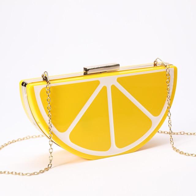 2017 Fall New Creative Handbags Occident Metal Chain Shoulder Diagonal Portable Evening Bags Watermelon Women Messenger