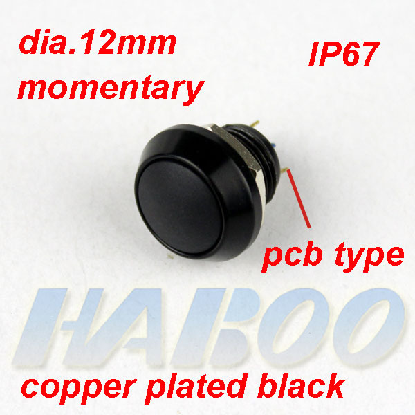 1pcs HABOO EP12mm series 1NO IP65 anti-vandal momentary push button switch waterproof IP65 metal switch shipping free