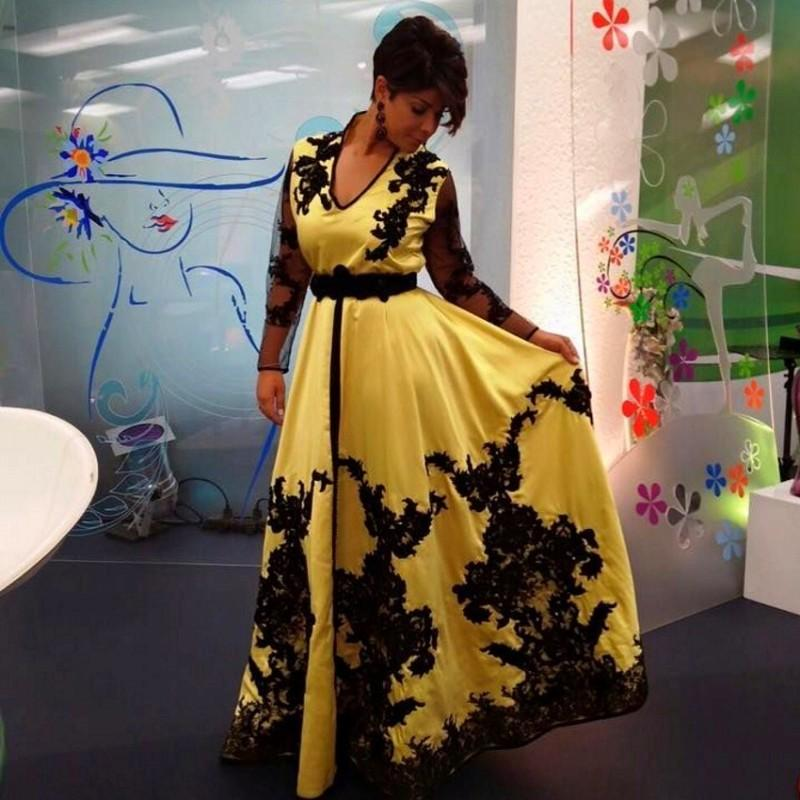 ec1c012ee8f Yellow Satin Black Lace Appliques Prom Gown V Neck Long Sleeve Formal Dress  for Wedding Party Custom Made