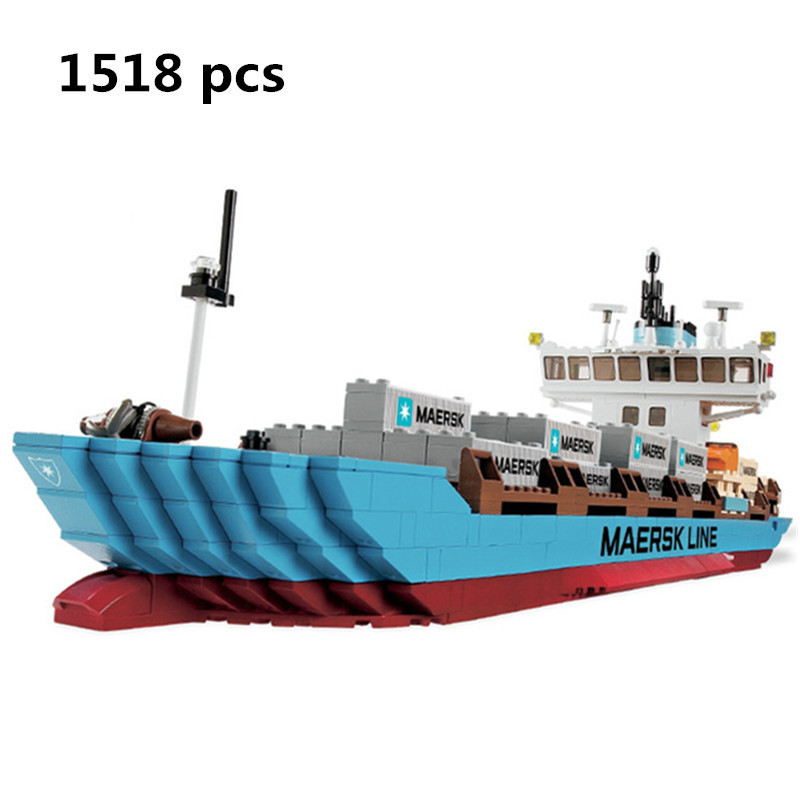 2018 Lepin 22002 1518Pcs Technic Series The Maersk Cargo Container Ship Set Educational Building Blocks Bricks Model Toys Gift lepin 16042 2344pcs building blocks set new pirate ship series the slient mary set model gift 71042 educational christmas toys