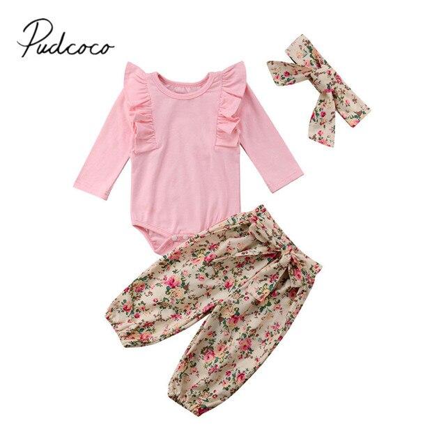 76a1e0c9f 2018 Brand New Newborn Infant Baby Girls Spring Autumn Clothes 3PCS Long  Sleeve Ruffles Pink Romper Tops Floral Pants Headband