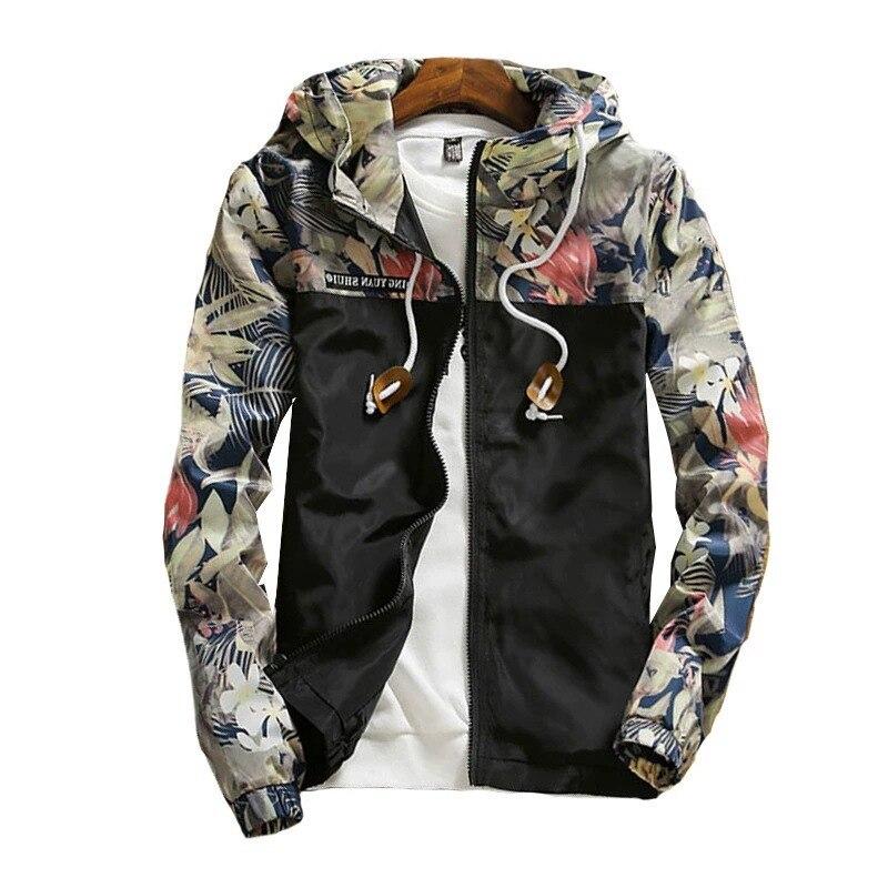 Women's Hooded   Jackets   Spring Causal Flowers Windbreaker Women   Basic   Plus Size   Jackets   Coats Zipper Lightweight Loose   Jackets