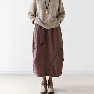 Image 3 - Женская винтажная клетчатая юбка Johnature, Повседневная Мягкая Свободная юбка А силуэта из хлопка и льна, красного и серого цвета, для осени, 2020
