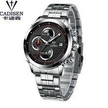 CADISEN Relógio Marca de Luxo Homens Seis-pin Cronógrafo de Aço Inoxidável Relógio de Pulso Sport & Couro Relógios Relogio masculino