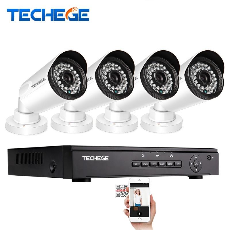 bilder für Techege 4CH 1080 P 48 V POE NVR 4 STÜCKE 1.0MP 720 P Outdoor 1500TVL Wasserdicht IP66 POE Ip-kamera Xmeye P2P Videoüberwachung System
