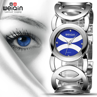 WEIQIN 2017 Popular Colors Magic Blue Women Watches Luxury High Quality Montre Femme Stainless Steel Dress Woman Wrist Watches