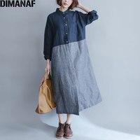 DIMANAF 2017 Women Dress Autumn Linen Striped Print Female Plus Size Casual Fashion Loose Show Thin
