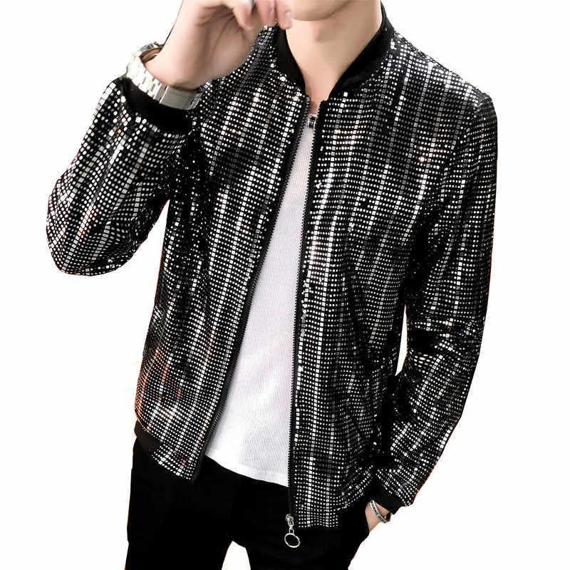 2019 春メンズジャケット人格野球襟スパンコールナイトクラブ風ハンサムジャケット/ファッションバーパーティー男性のコート