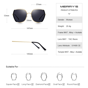 Image 3 - MERRYS Women Luxury Polarized Sunglasses Ladies Fashion Design Sun glasses UV400 Protection S6267