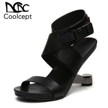 Coolcept Women Genuine Leather High Heel Sandals Sexy New Design Real Leather Strange Heel Sandals Women Footwear Size 34-39