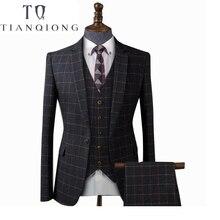 TIAN QIONG, мужские черные клетчатые костюмы для свадьбы, деловой смокинг, костюм, Homme, тонкий бордовый костюм жениха, мужской костюм из 3 предметов