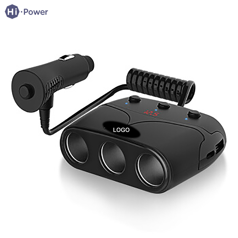 Hi-Power Universal Car Auto Charge 1 USB Port 3 Way Cigarette Lighter Splitter Charger Socket LED Independent Smoke Hole Switch universal car usb port 3 way cigarette lighter charger splitter car charger power adapter outlet dc 12v led light switch