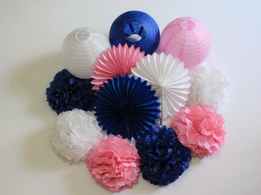12Pcs Navy Blue Pink White Party DIY Tissue Paper Pom Poms ...
