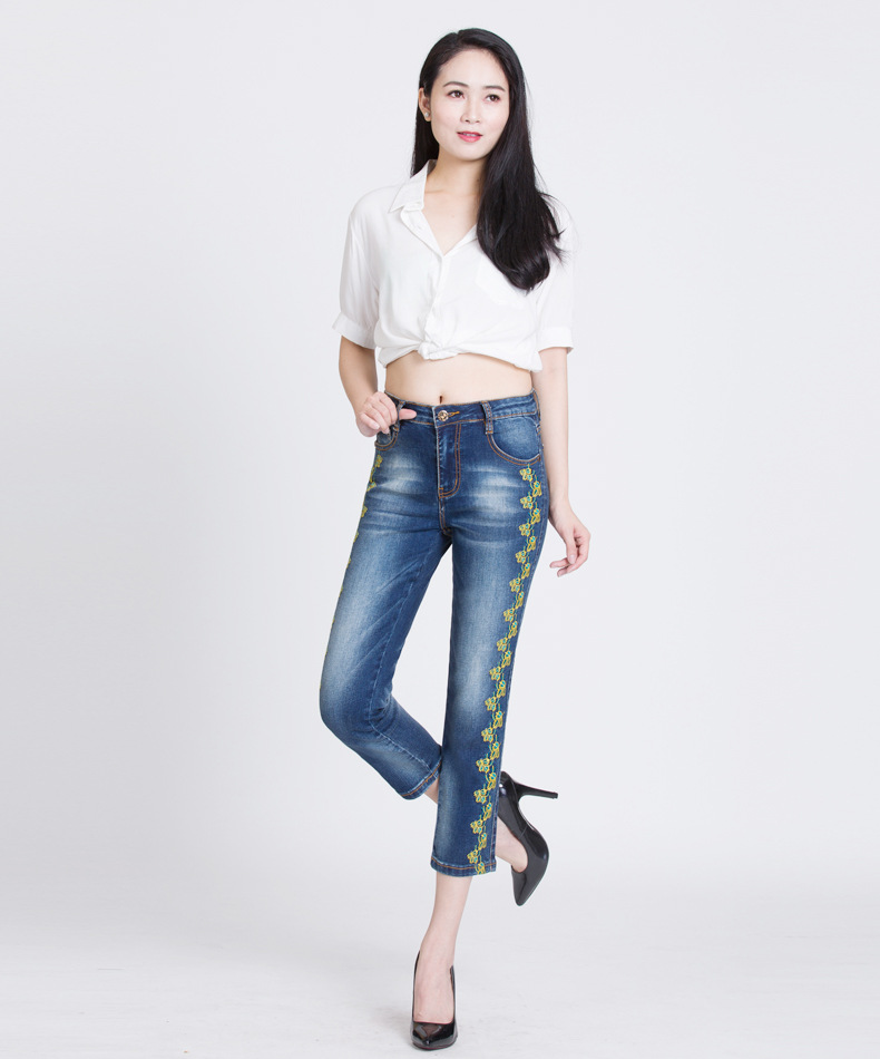 KSTUN 2018 Fashion Women's Jeans Slim Straight High Waist Emboridered Floral Summer Thin Pants Stretch Casual Female Trousers36 11