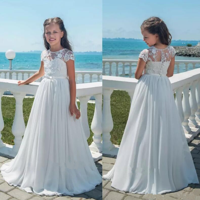 White Lace Flower Girl Dresses for Wedding A Line Cap Sleeves Appliques Chiffon Long Girls Communion Gown Custom Any Size white lace off shoulder flower girl dress for wedding half sleeves custom made any size