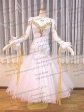 New Style!ballroom Standard Dance Dress,Waltz Competition Dress,Women,Ballroom Dance Dress, Modern dance skirt girls,white color