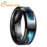BONLAVIE Men Women Wedding Band Black Tungsten Ring Abalone Shell Tungsten Steel Ring with Blue CZ Stone Finger Jewelry