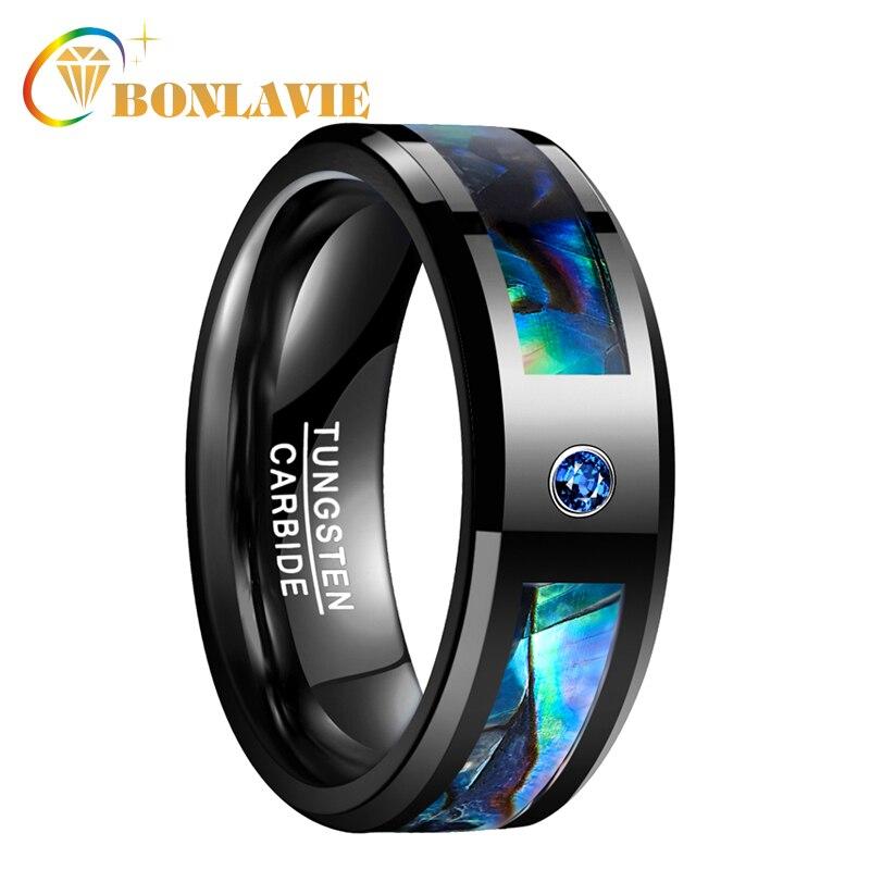 BONLAVIE hombres mujeres banda de boda anillo de tungsteno negro Abalone Shell anillo de acero de tungsteno con azul CZ piedra joyería de dedo