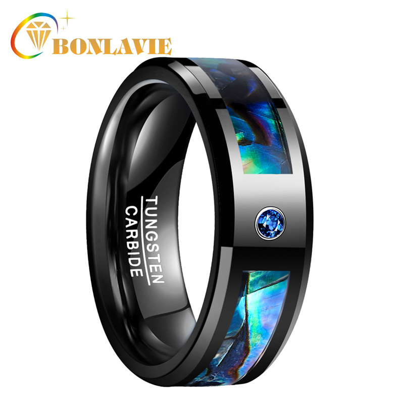 BONLAVIE hommes femmes bande de mariage noir tungstène anneau Abalone Shell tungstène acier anneau avec bleu CZ pierre doigt bijoux
