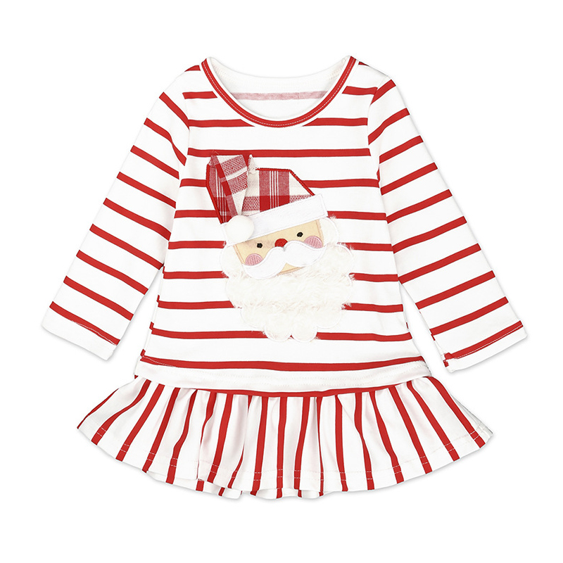 Children Clothes Baby Girls Christmas Dress Cartoon Stripes Santa Casual Dress Cotton Girl Christmas costumes Princess dresses girls dresses baby girl clothes character painting 2017 brand new christmas costumes graffiti vest dress for princess children