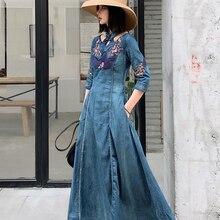 Новая мода весна осень Вышивка Половина рукава джинсовые платья для женщин длинные до середины икры S-XL винтажное платье